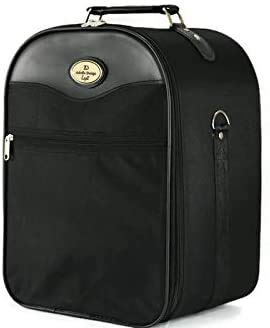 Medium Wig Travel Box with Top Handle Shoulder Strap & Double Zipper Carrying Case with Removable Head-Holding Base - Black Square Design - by Adolfo Design