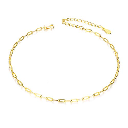 VONALA 925 Sterling Silver Gold Plated Anklet Bracelets for Women, Simple Chain Jewelry Gifts for Her (Glossy gold)