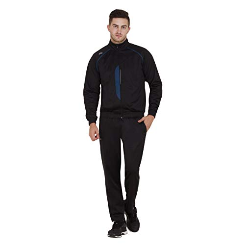 DIDA Black Polyester Athletic Gym Running Sports Tracksuit for Men