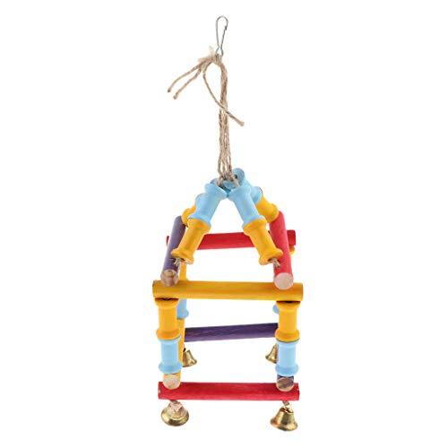 Baoblaze Bird Chew Toy Loofah Columpio Hamaca de Madera para Conure Cockatiel Gris Africano - F