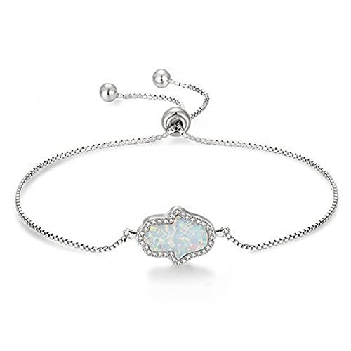 Pulseras de ópalo sintético para mujer, pulsera de mano, joyería de plata de ley 925, joyería de moda Hamsa Hand Of Fatima