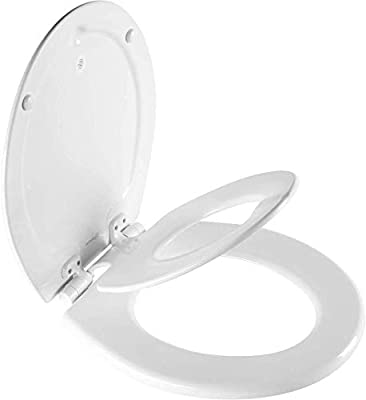 MAYFAIR 888SLOW 000 NextStep2 Toilet Seat with Built-In Potty Training Seat, Slow-Close, Removable that will Never Loosen, ROUND, White by Bemis
