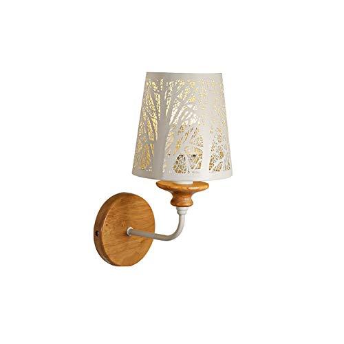 Dkdnjsk Pared de la luz de la lámpara, la lámpara cálido y romántico, de madera maciza de Pantallas de iluminación, lámpara de hierro del cuerpo.Sencilla lámpara de cabecera, lámparas creativas for pa