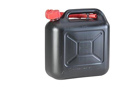 Hünersdorff Bidón para carburante STANDARD 10L, PEAD Negro, con homologación UN, accesorios rojos