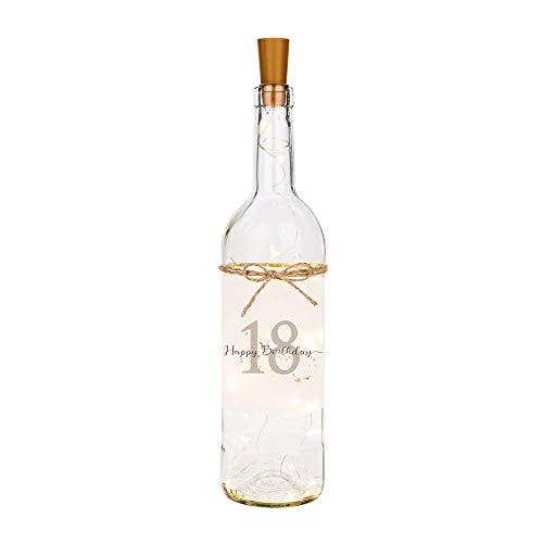 Manufaktur Liebevoll Flaschenlicht Happy Birthday 18 - Persönliches Geschenk zum Geburtstag - Flasche mit stimmungsvoller LED Beleuchtung
