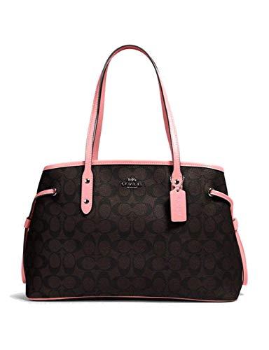 Coach F57842 Signature Drawstring Carryall Shoulder Bag in Brown Pink
