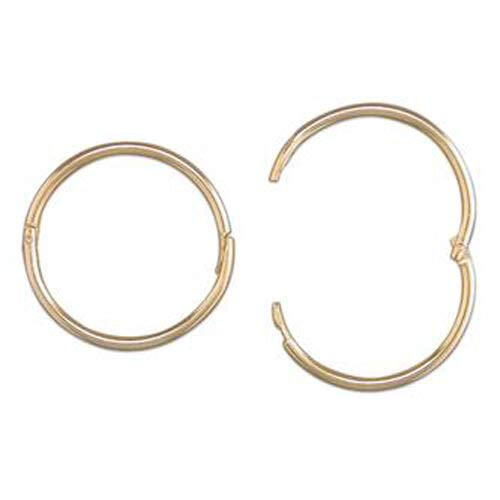 9ct Gold 15mm Mens Hinged Hoop 1 Sleeper Earring (ONE SINGLE MEN's EARRING)