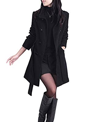 Jenkoon Women's Winter Double Breasted Stand Collar Button Pea Coat Trench Coat with Belt (Black, X-Large) by