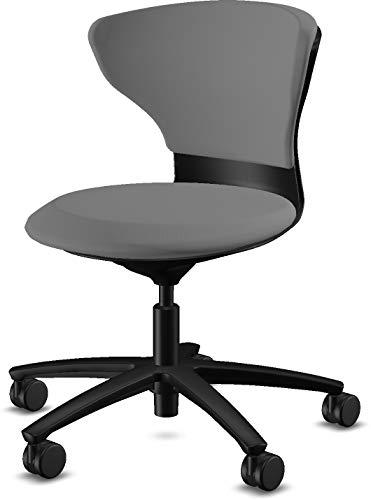 sedus Turn Around Drehstuhl in hellgrau/schwarz | Arbeitsstuhl klein - Praxisstuhl bequem - Arztstuhl gepolstert - Bürostuhl für Arzt & Praxis