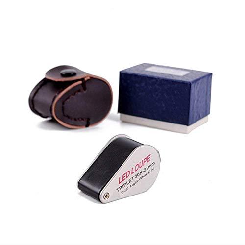 LIXHGJ Beleuchtetes LED-UV-Licht Mini 30X Schmucklupe Geologisches Stempel-Identifikations-Werkzeug HD Vergrößerte Diamant-Antik-Identifikation