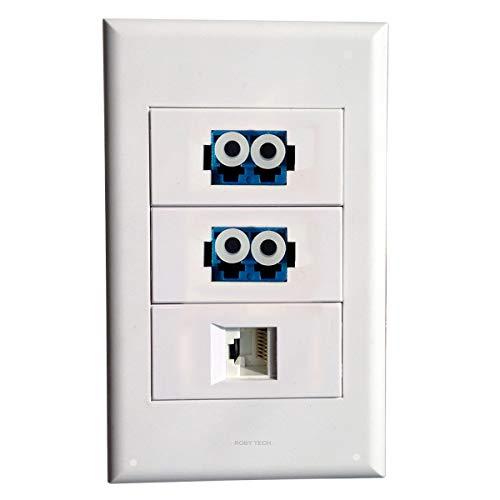 Placa de Pared, LC + LC + RJ45,Keystone Fibra óptica Distribución Conectores Placa de Enchufe Blanco Decorativos Montaje del Dispositivo Cubierta del acoplador (Tipo:118)
