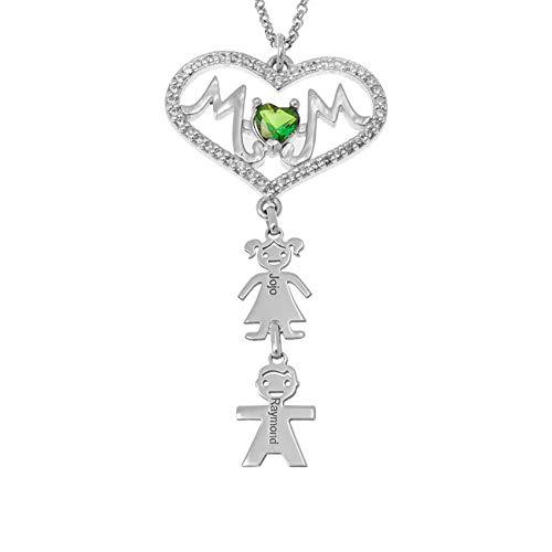 TWinkle Collar con Nombre Personalizado 1 a 8 Nombre Grabado Niños Colgante Madre e Hija Collar Regalo para San Valentín día de la Madre(Plata-18)