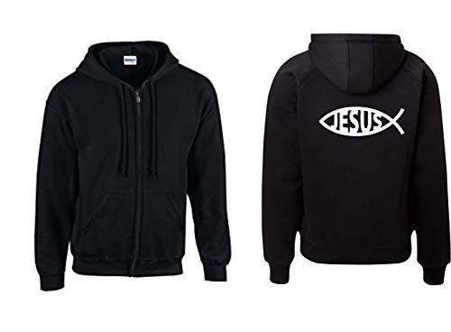 Textilhandel Hering Jacke - God Jesus Fish Chritian Sign Kirche Chruch Symbol Fisch Zeichen (Schwarz, XXL)