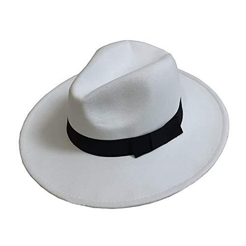 MJ Michael Jackson Sombrero Fedora de fieltro Billie Jean Chaqueta Traje de baile Cosplay Sombreros y gorras de Jackson (Blanco, adecuado para altura: 150-190 cm)