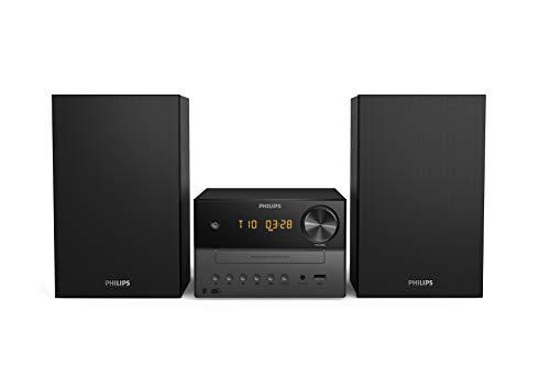 Philips M3505/12 Mini Chaîne Hi-Fi CD, USB, Bluetooth (Radio DAB+/FM, CD-MP3, 18 W, Port USB pour Charge, Enceintes Bass Reflex, Contrôle Numérique du Son) - Modèle 2021/2021