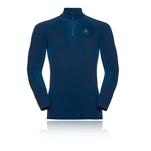 Odlo T-Shirt de Performance SUW Turtle Neck 1/2 Zip L/s - Poseidon/Blue Jewel, L