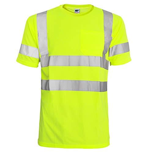 L&M Hi Vis T Shirt ANSI Class 3 Reflective Safety Lime Short Sleeve HIGH Visibility (XL)