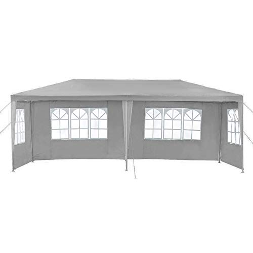 LIVIVO 6m x 3m Outdoor Party Gazebo Beer Tent with Waterproof Canopy and Detachable Side Panels and Windows with 6 Securing Pull Ropes and 12 Ground Pegs