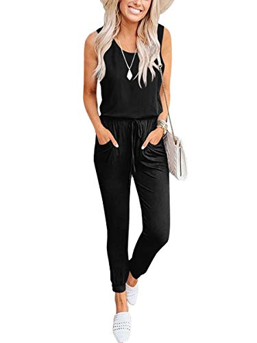 Caracilia Women Summer Casual Sleeveless Tank Top Elastic Waist Loose Jumpsuit Rompers with Pockets C20A8-heise-XL