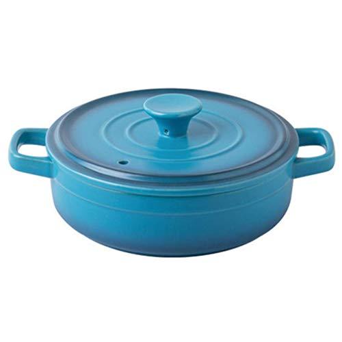 Cazuela de cerámica, Cazuela Redonda con Tapa, Cocotte pequeño de gres, Horno holandés, Olla Slow, Olla Resistente al Calor Cazuela de Barro, Cazuela de cerámica Azul 0.87luseful