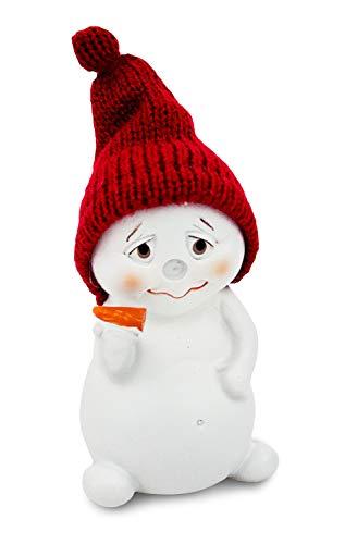 Impressionata Deko Figur Schneemann mit Strickmütze, Polystein weiß rot, 11cm, Weihnachtsdeko Weihnachtsfigur Dekofigur Winter Weihnachten