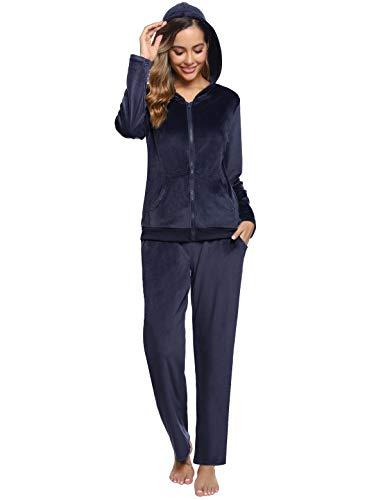 Abollria Donna Tute da Ginnastica Invernale 2 Pezzi, Completi Sportivi Abbigliamento con Cappuccio, Felpa per Corsa Yoga Pigiama per Casa Blu Navy XL