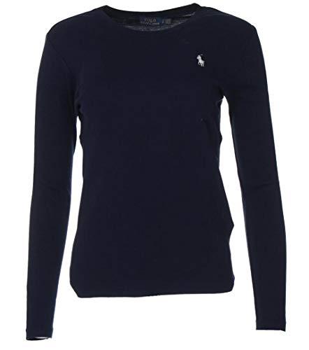 Ralph Lauren - Maglia da donna a maniche lunghe, tinta unita blu navy XL