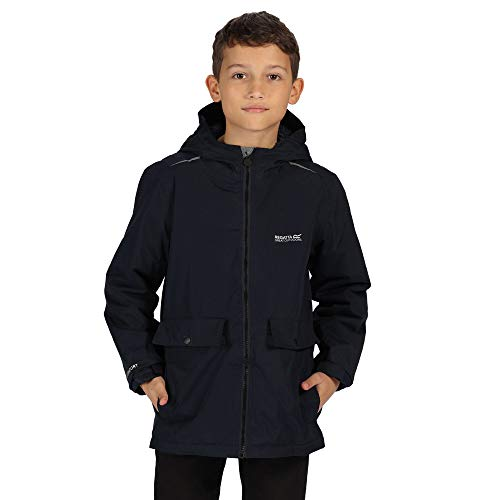 Regatta Sarkis Waterproof Taped Seams Insulated Lined Hooded Printed Jacket Chaqueta, Infantil, Azul Marino, 13 Años