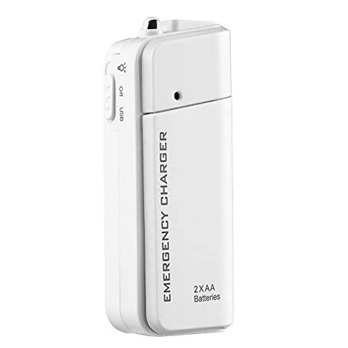 Color Yun Cargador USB de Emergencia con batería Externa AA portátil para Reproductor MP3 para iPhone (Blanco)