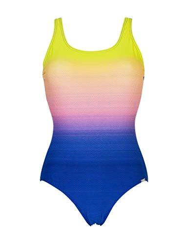 Marine - Bañador de natación Mujer, Estampado Degradado (Amarillo/Naranja/Azul, 40)