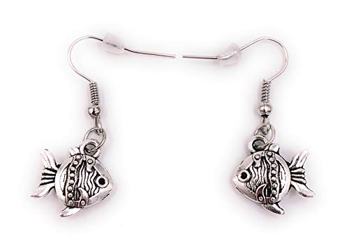H-Customs Vissen Ornamentale Vissen Aquarium Baby Kleine oorbellen hanger metaal zilver