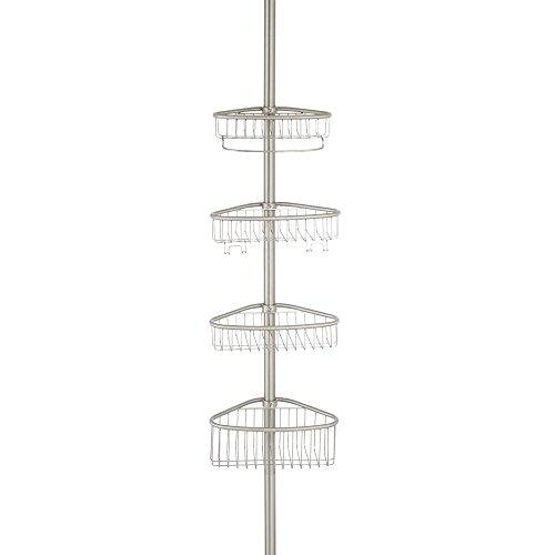 iDesign Duschablage, ausziehbares Duschregal aus Edelstahl mit Constant Tension-Technologie, Teleskop Badregal mit 4 Körben und 4 Haken, mattsilberfarben