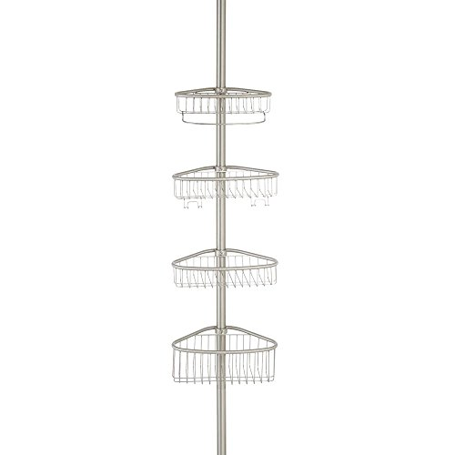 Price comparison product image iDesign Telescopic Caddy,  Stainless Steel Shower Storage Shelf with Constant Tension Technology,  Compact Bathroom Organiser with 4 Baskets and 4 Hooks,  Matte Silver