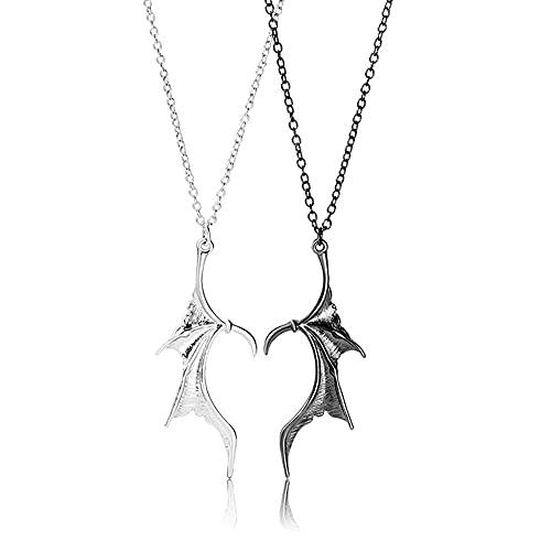 YTATY Collar de alas de dragón de diablo, collar de alas de murciélago, collar de alas de murciélago, colgantes de pareja para mujeres y hombres, caucho,