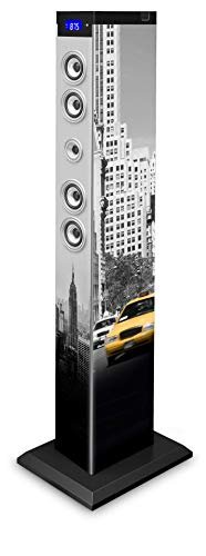 BigBen Sound Tower TW9 | New York Yellow Cab | 60 Watt RMS | Equalizer LEDs | Bluetooth, Aux-IN, SD, UKW