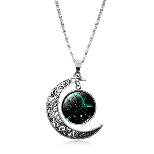 Yixikejiyouxian Collar, 12 Constelaciones Collar Colgante Luna Creciente Galaxia Zodiaco Astrología Horóscopo Encanto Collares de Moda de Verano - Sagitario Xhxl0527 45Cm