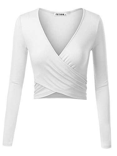 VETIOR Women's Deep V Neck Long Sleeve Unique Cross Wrap Slim Fit Crop Tops...