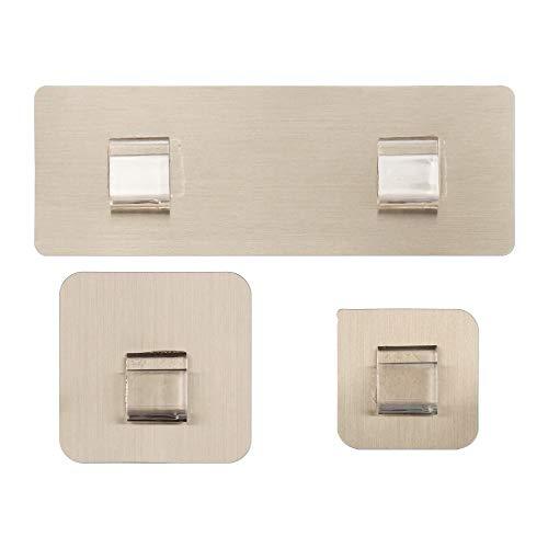 QAZLP Home - Gancho de pared autoadhesivo resistente al agua, no perforado, ganchos adhesivos, 22 cm x 7 cm, color dorado