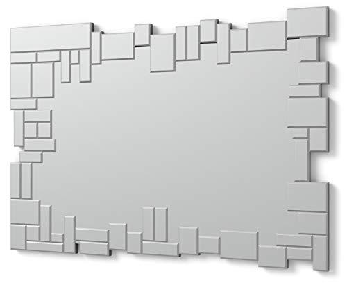 DEKOARTE E063 - Specchi Decorativi Moderni di Pareti | Specchi Decorazione per Il Tuo Soggiorno, Stanza da Letto, Lobby, Ingresso | Specchi Sofisticati Grandi Rettangolare Colore Argento | 100 x 70cm