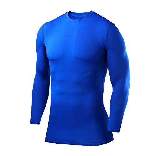 PowerLayer Men's Boys Compression Shirt Long Sleeve Base Layer Thermal Top - Blue Large