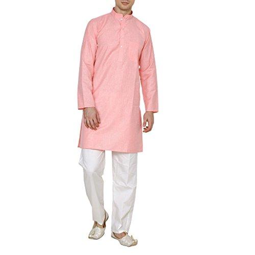Royal Kurta Men's Linen Cotton Kurta Pyjama Set 44 L-pink