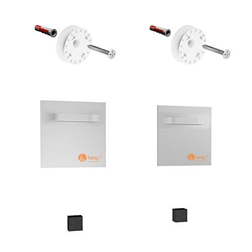 hang-it Premium Spiegelbefestigung Set M - 2 Stück Spiegelbleche 100x100mm und Exzenterscheiben - Spiegelhalter