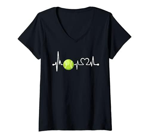 Mujer Divertido regalo de entrenador de tenis y jugador | Love Tennis Heartbeat Camiseta Cuello V