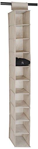 House Box RANGSU007 Rangement Suspendu à Chaussures avec 10 Compartiments Synthétique Beige 120 x 30 x 15 cm