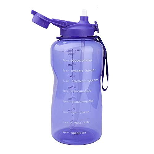 Azebo Botella de agua de 3,8 L con marcas de tiempo de motivación, Tritan sin BPA, reutilizable, antigoteo, para la oficina deportiva al aire libre, 3,8 litros, color morado