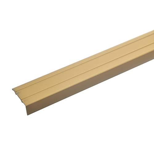 acerto 32013 Aluminium Stufenkanten-Profil - 100cm x 24,5mm – Gold * 10mm Höhe* Rutschfest * Robuster Kantenschutz | Gelochtes Treppenkanten-Schutzprofil für Laminat, PVC | Rutschhemmend Alu