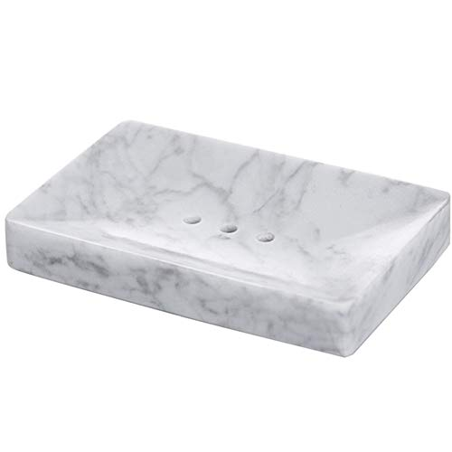 StonePlus Natural Smooth Real Marble Soap Dish/Facial Sponge Holder/Bathroom Makeup Sponge Tray with Draining Hole (White Carrara)