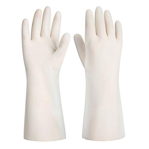 ThxToms Reusable Dishwashing Nitrile Gloves, Latex Free, White Cleaning Gloves for Kitchen and Housework, Medium, 3 Pairs