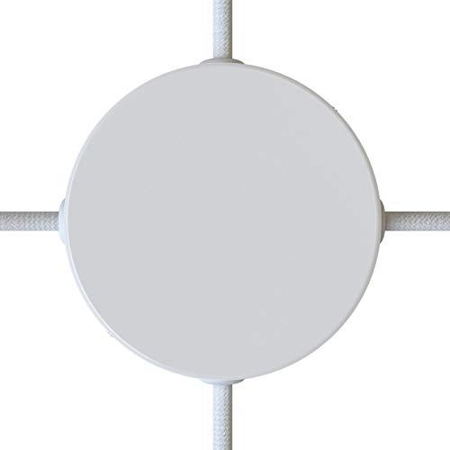 creative cables Kit rosetón cilíndrico de Metal 4 Agujeros Laterales (Caja de conexión) - Blanco Brillante