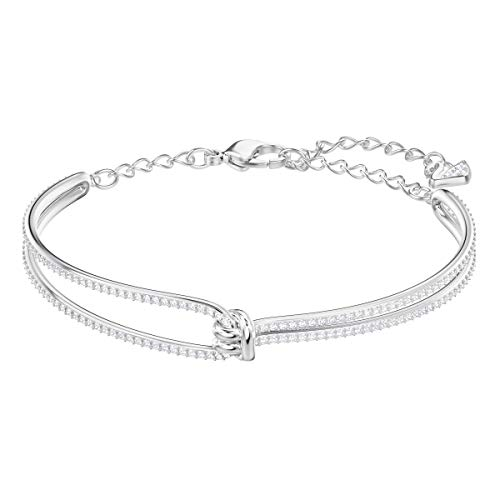 Swarovski Women's Lifelong Bangle Bracelet, Brilliant White Crystals with Rhodium plated Metal, from the Swarovski Lifelong Collection